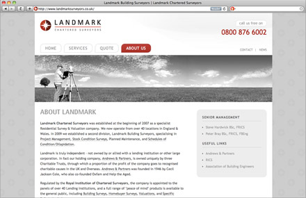 Landmark Surveyors website